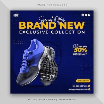 Vendita di scarpe sportive post sui social media e modello di banner web quadrato
