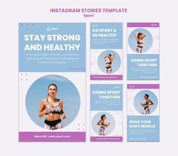 Storie sui social media sportivi Psd Premium