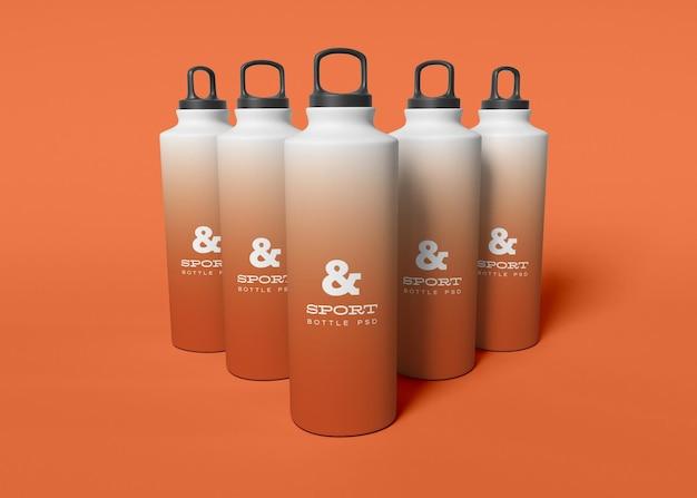 Set di mockup di bottiglie d'acqua sportive