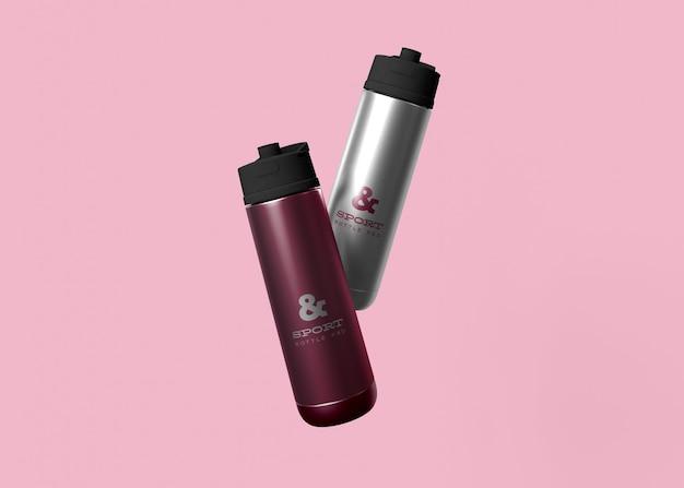 Mockup di bottiglie d'acqua sportive