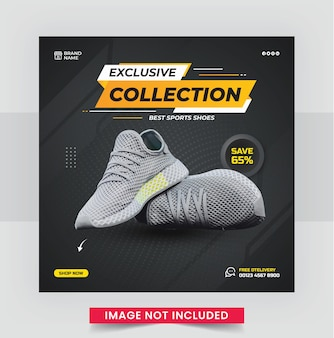 Modello di post di social media quadrato di scarpe sportive