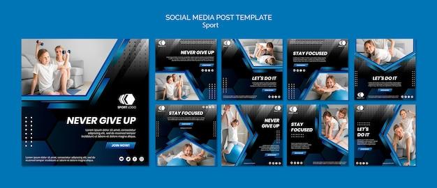 Modello di post di social media sport