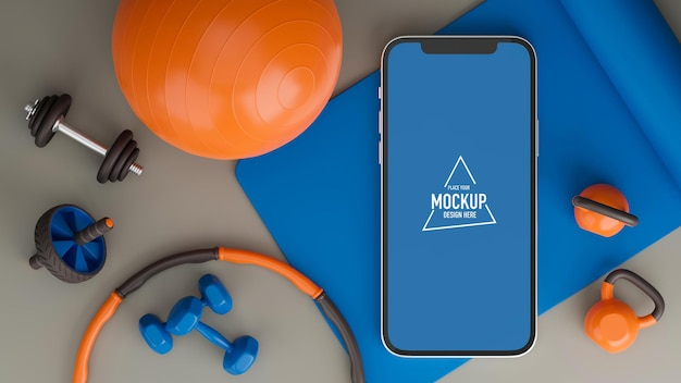 Programma di allenamento sportivo con esercizio di attrezzature da palestra sportiva dal mockup dello schermo dello smartphone di casa