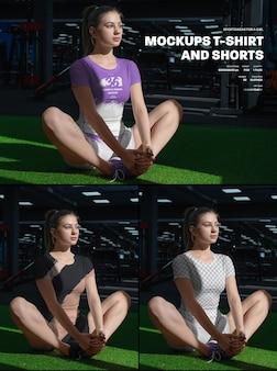 Mockup di magliette e pantaloncini sportivi