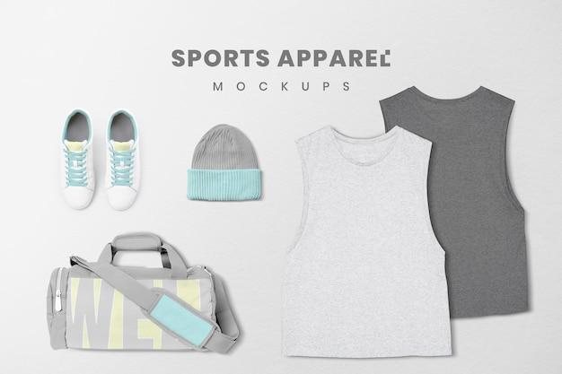 Set di psd mockup di abbigliamento sportivo