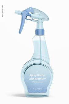 Flacone spray con mockup di atomizzatore, vista frontale