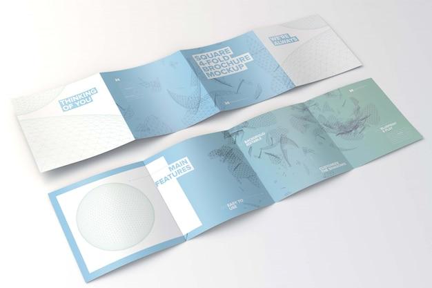 Diffondere mockup di brochure quadrate 4 volte