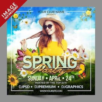 Modello di promozione social media di spring party