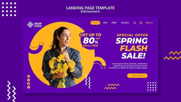 Modello di pagina di destinazione del modello geometrico audace di vendita di primavera