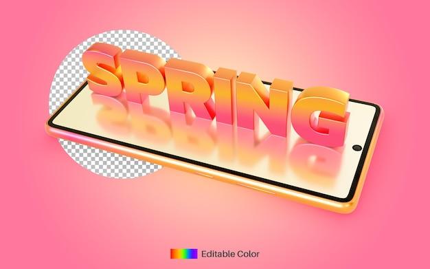 Stile del testo della primavera sul rendering 3d del telefono cellulare