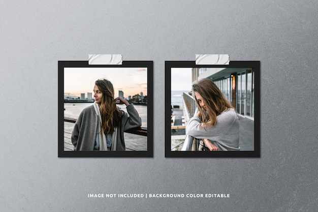 Mockup di cornice per foto in carta nera quadrata