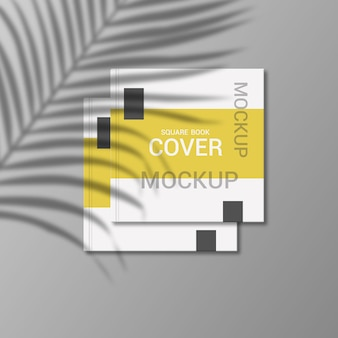 Square book cover mockup design rendering