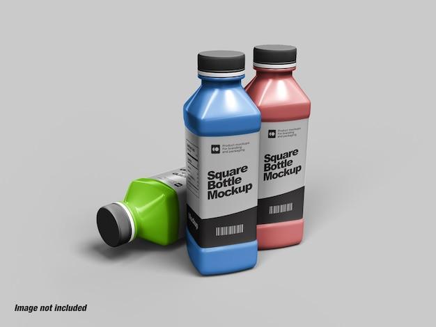 Bottiglia quadrata per mockup di latte o yogurt