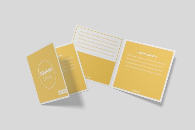 Brochure quadrata bifold mockup 5