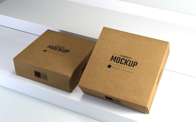 Mockup di scatole di cartone quadrate con palco