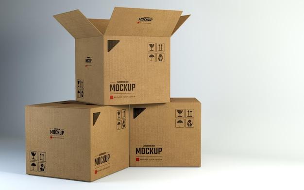 Mockup di scatole di cartone quadrate
