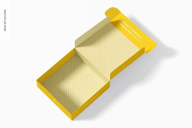 Mockup di scatola postale di cartone quadrato, aperto