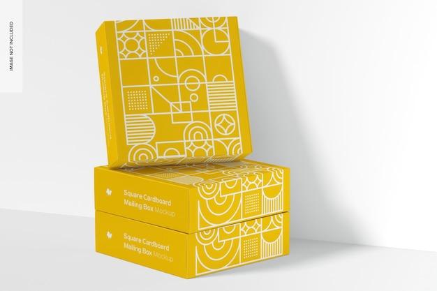 Mockup di scatole postali in cartone quadrato, chiuso