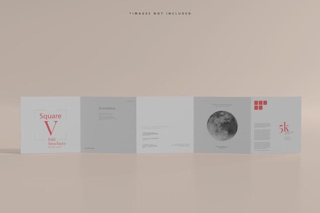 Mockup di brochure quadrata a cinque pieghe