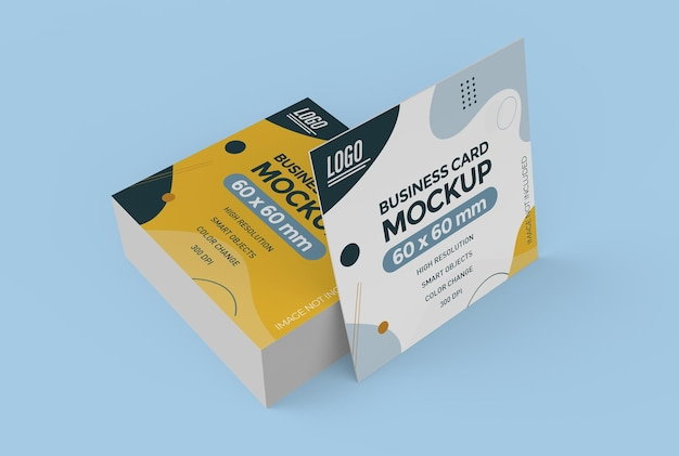 Design mockup biglietto da visita piatto quadrato isolato
