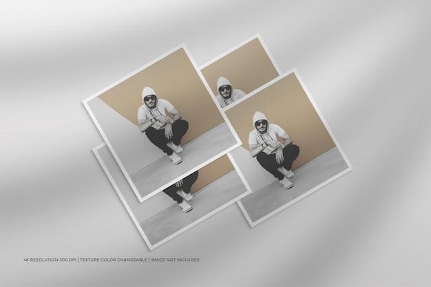 Volantino quadrato e cornice per foto mockup