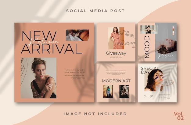 Modello di post per feed di social media con volantino quadrato