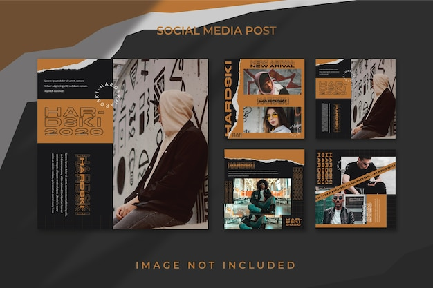 Square flyer social media feed poster instagram template urban style Psd Premium