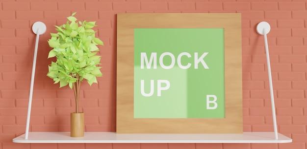 Mockup cornice quadrata sul tavolo fissato al muro, cornice in legno