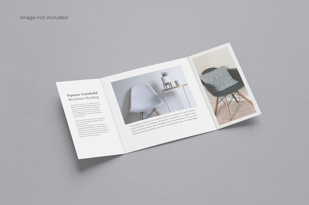 Brochure pieghevole a cancello quadrato mockup