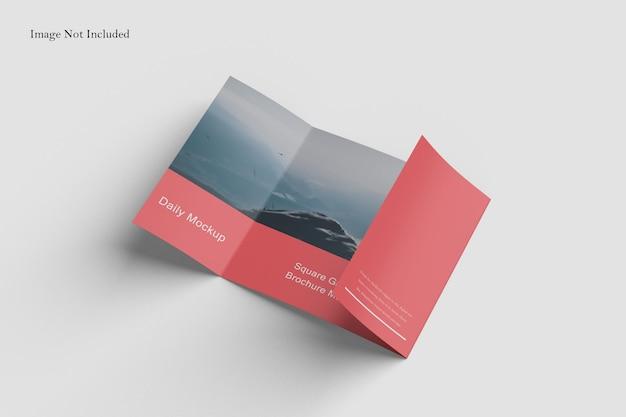 Square gatefold brochure mockup design