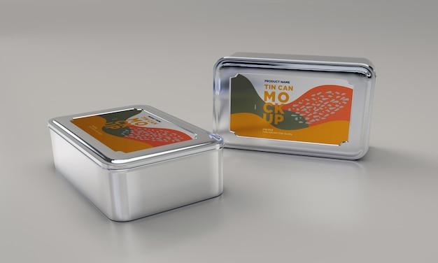 Mockup di imballaggio in latta per alimenti in metallo quadrato