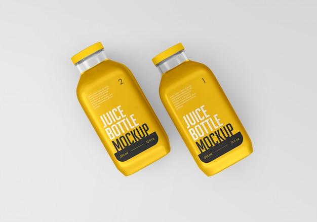 Mockup di bottiglia di succo d'arancia quadrato