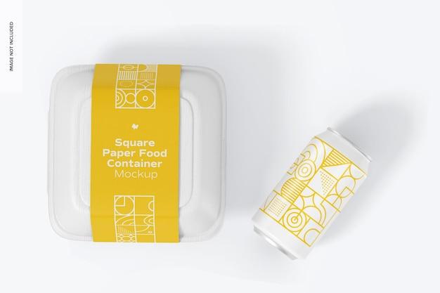 Mockup di contenitore per alimenti in carta quadrata con lattina, verticale