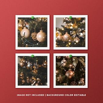 Mockup di foto con cornice di carta quadrata per natale