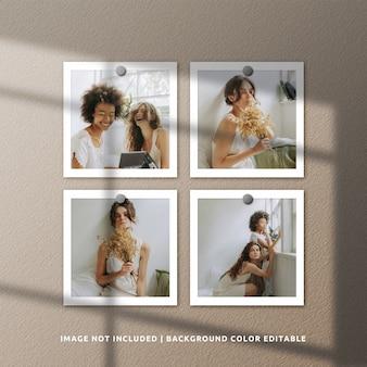 Mockup di cornice per foto in carta quadrata con ombra