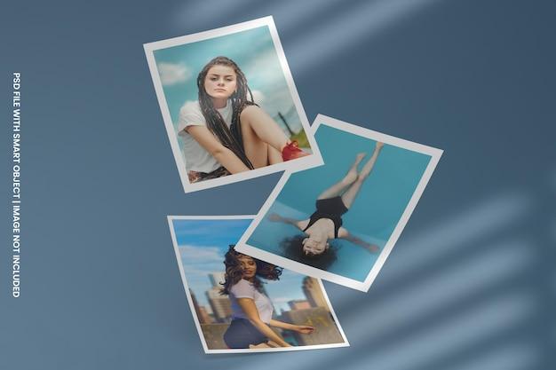 Modello di mockup polaroid cornice per foto quadrata psd premium