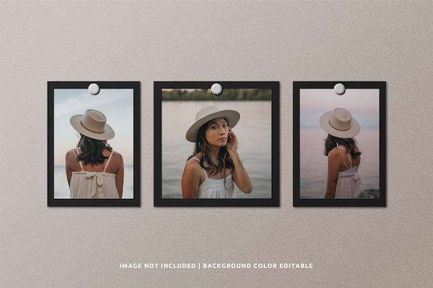 Mockup di cornice per foto in carta nera quadrata e verticale