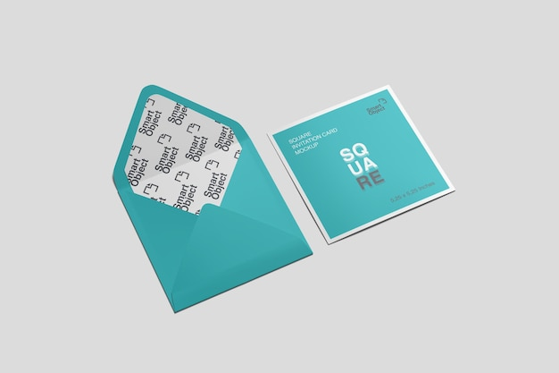 Cartolina quadrata e busta mockup vista dall'alto