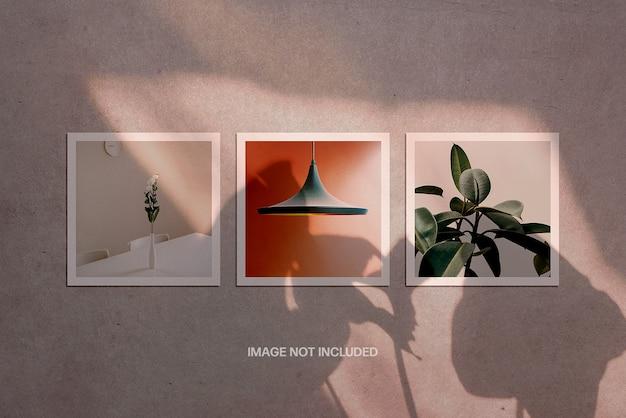 Poster quadrati con mockup di sovrapposizione di ombre
