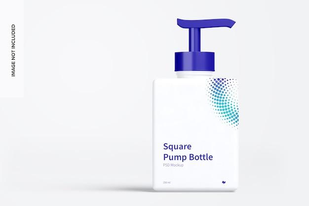 Vista frontale del mockup della bottiglia della pompa quadrata