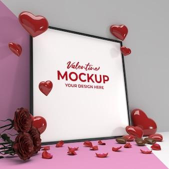 Mockup di cornice quadrata romantica di san valentino con petali di rosa e cioccolato