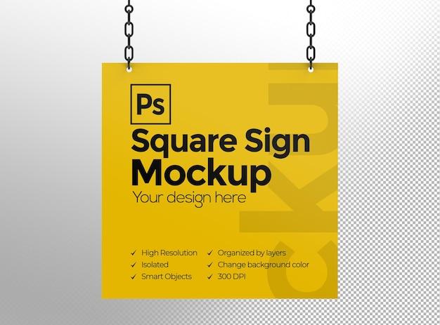 Mockup di segno quadrato con catene per pubblicità o branding