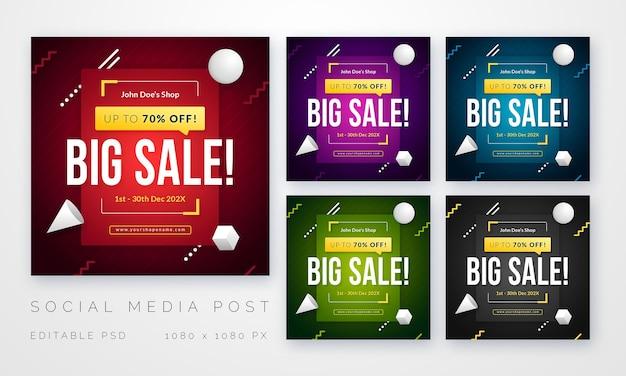 Modello di post vendita social media quadrato