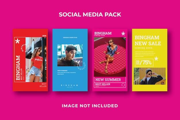 Modello di instagram di storia di social media quadrati