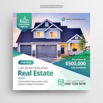 Modello quadrato di pubblicità immobiliare per social media post