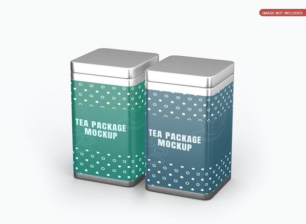 Mockup di imballaggio di lattine quadrate