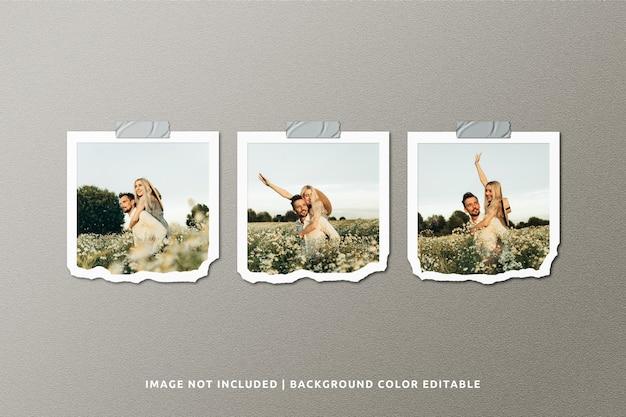 Mockup di cornice per foto in carta strappata quadrata