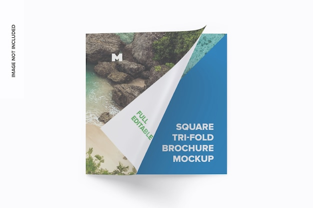 Mockup di brochure ripiegabile quadrato
