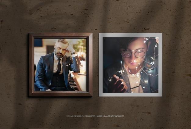 Cornici per foto quadrate in legno con sovrapposizione di ombre realistiche