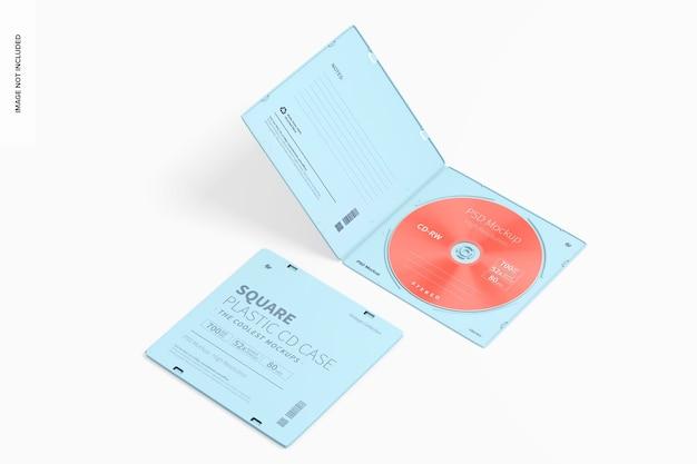 Mockup di custodie per cd quadrate in plastica, prospettiva